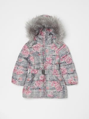 Куртка серая в цветочный принт | 5271665