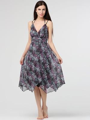 Сарафан фіолетовий в квітковий принт | 5530201