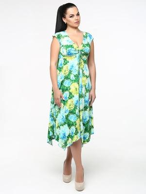 Сарафан зелений в квітковий принт | 5530202
