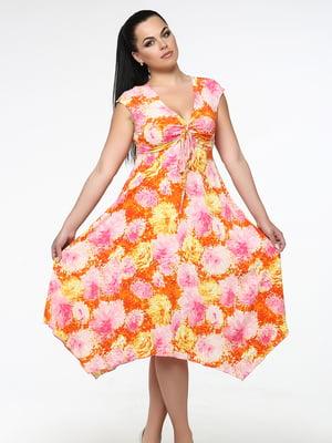 Сарафан помаранчевий в квітковий принт | 5530203