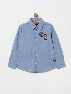 Рубашка голубая с аппликациями | 5372356