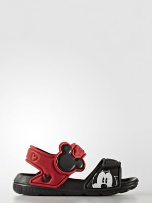 Сандалии черно-красного цвета в принт | 5530209