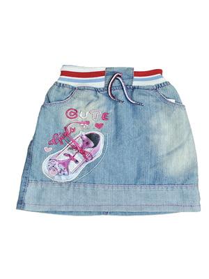 Спідниця джинсова блакитна з декором   5530940