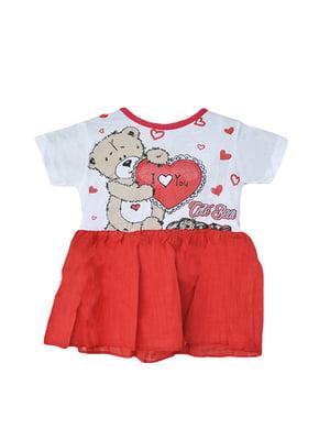 Сукня біло-червона з принтом | 5530947