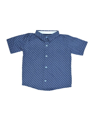 Рубашка синяя в принт | 5530952