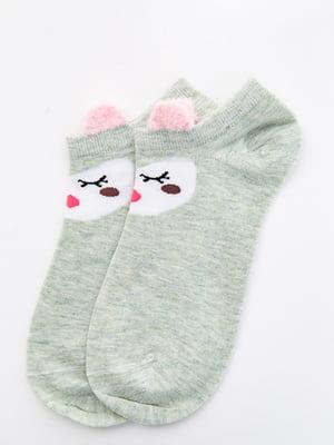 Шкарпетки оливкового кольору з малюнком   5530584