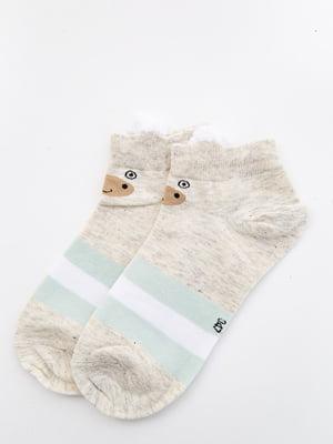 Шкарпетки бежеві з малюнком і в смужку   5530588
