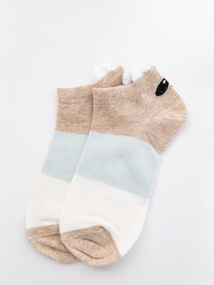 Шкарпетки молочно-бежеві з малюнком і в смужку   5530589