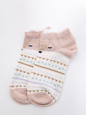 Шкарпетки молочно-рожеві з малюнком і в смужку   5530590