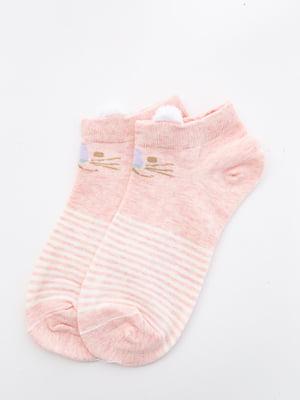 Шкарпетки персикового кольору з малюнком і в смужку   5530591