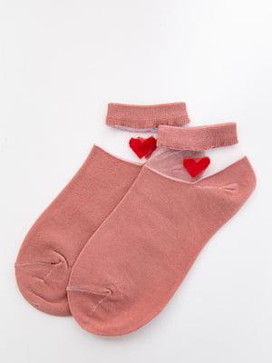 Шкарпетки кольору пудри з декором   5530595