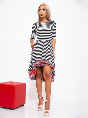 Сукня чорно-біла в смужку і квітковий принт | 5530646