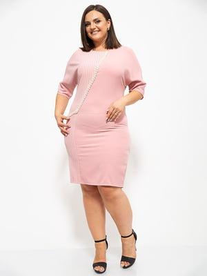 Платье цвета пудры в полоску и с декором   5530653