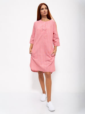 Платье кораллового цвета в полоску | 5530671