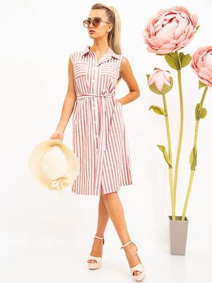 Сукня рожево-біла в смужку | 5530714