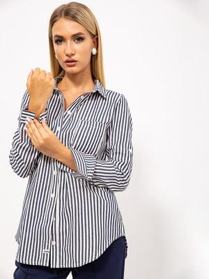 Рубашка серо-синяя в полоску | 5530759