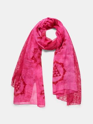 Шарф рожевий з принтом | 5528993
