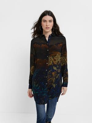 Рубашка-туника разноцветная с цветочным принтом | 5529020
