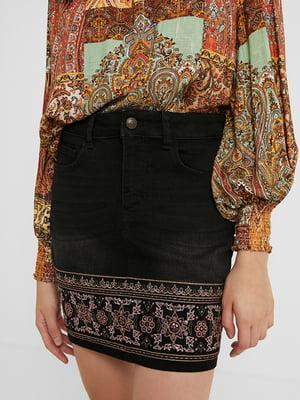Спідниця темно-сіра джинсова з декором | 5529026