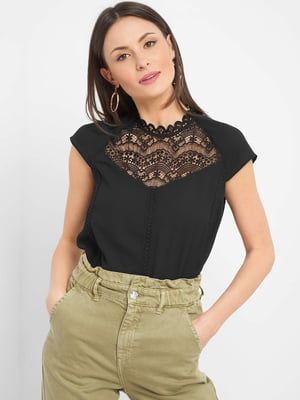 Блуза чорна з візерунком | 5529080
