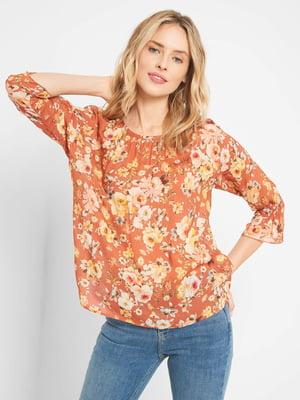 Блуза теракотового кольору з квітковим принтом | 5529083