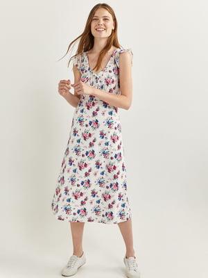 Сукня біла з квітковим принтом | 5531299