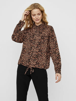 Блуза коричневая в принт | 5530004