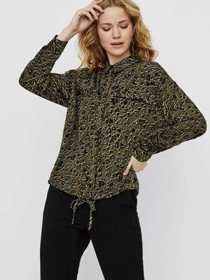 Блуза зеленая в принт   5530005