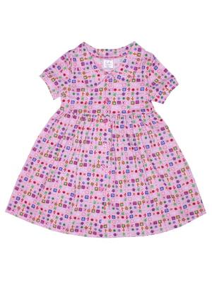 Платье розовое в принт | 5531357