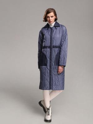 Пальто синее с узором | 4886378
