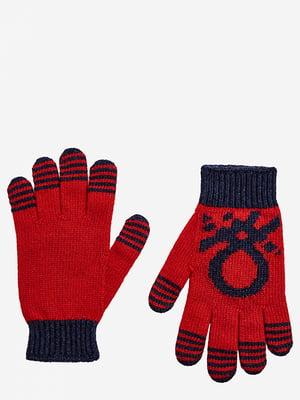 Перчатки красные с рисунком | 5520463