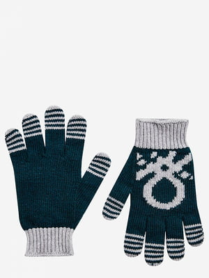 Перчатки сине-зеленые с рисунком | 5520464