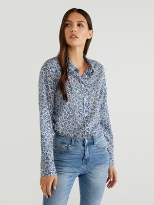 Рубашка голубая в принт | 5520915