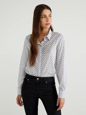 Рубашка белая в принт | 5520917