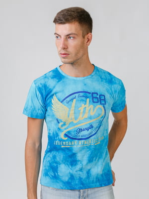 Футболка блакитна з принтом | 5500433
