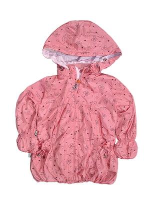 Куртка коралового кольору з принтом | 5531581
