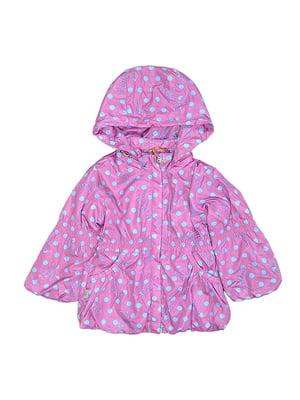 Куртка малинового кольору з принтом | 5531586