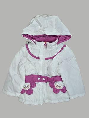 Куртка біло-малинового кольору з декором | 5531588
