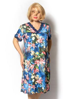 Сукня синя в квітковий принт | 5531868