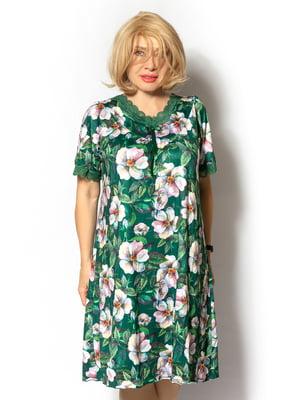 Сукня зелена в квітковий принт | 5531869