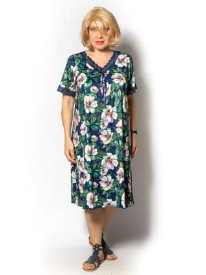 Сукня зелена в квітковий принт | 5531870