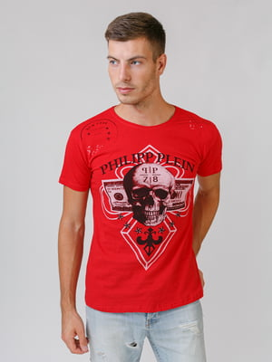 Футболка червона з принтом   5511541