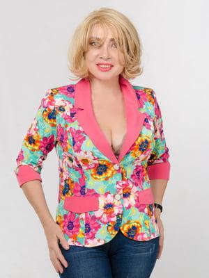Жакет розовый в цветочный принт   5528069