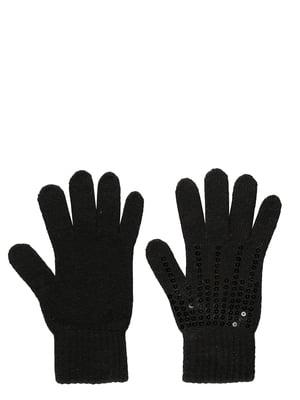 Рукавички чорні з декором | 5533313