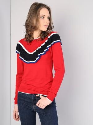Джемпер красного цвета со вставками-полосками | 5533319