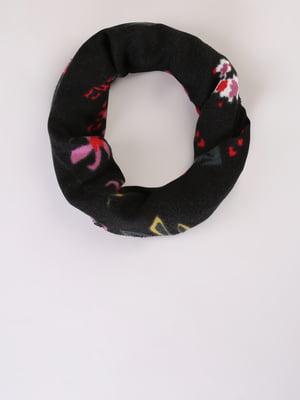 Шарф черный в цветочный принт | 5533321