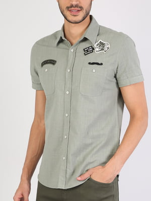 Рубашка зеленая с декором | 5533450