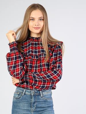 Блуза красного цвета в клетку | 5533475