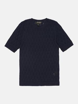 Джемпер-топ синій з візерунком | 5490468