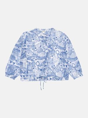 Блуза бело-синяя в принт | 5490446